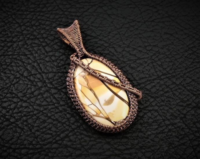 Brecciated Mookaite Copper Wire Wrapped Woven Pendant (P117)