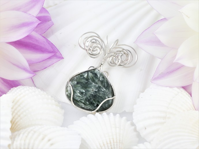 Seraphinite Sterling Silver Pendant  -  Wire Wrapped Green Jewelry  -  Gift for