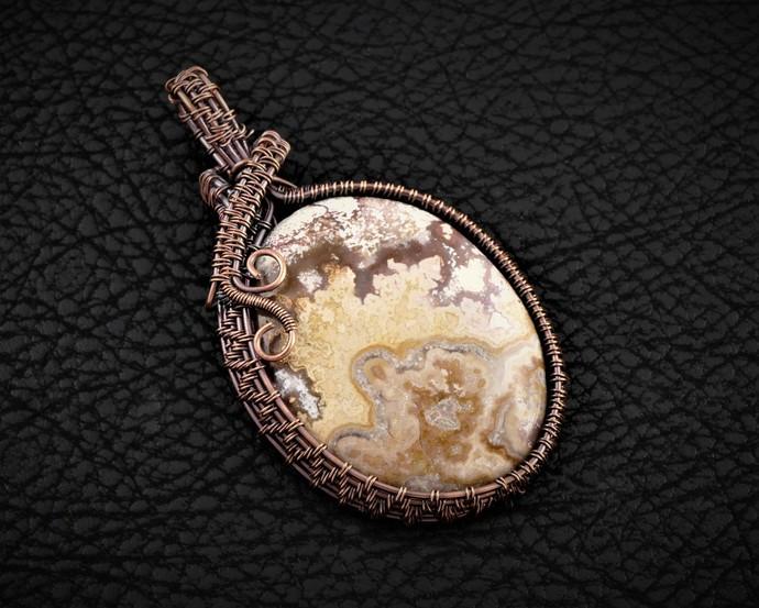 Crazy Lace Agate Copper Pendant; Wire Wrapped Pendant includes chain (P105)