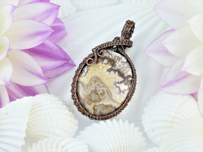 Crazy Lace Agate Copper Pendant; Wire Wrapped Pendant (P105)