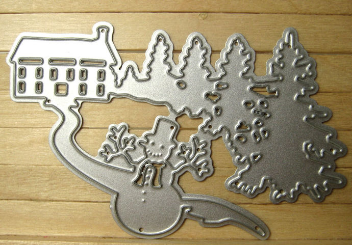 Small Winter Scene Cutting Die House, Trees, Snowman