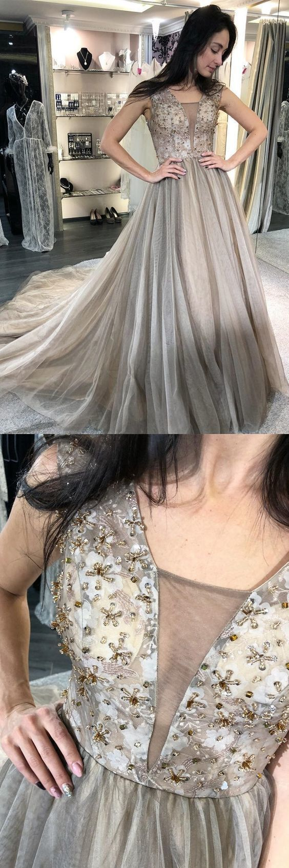 Beautiful Elegant A-Line V-Neck Sweep Train Light Grey Prom Dress with Beading