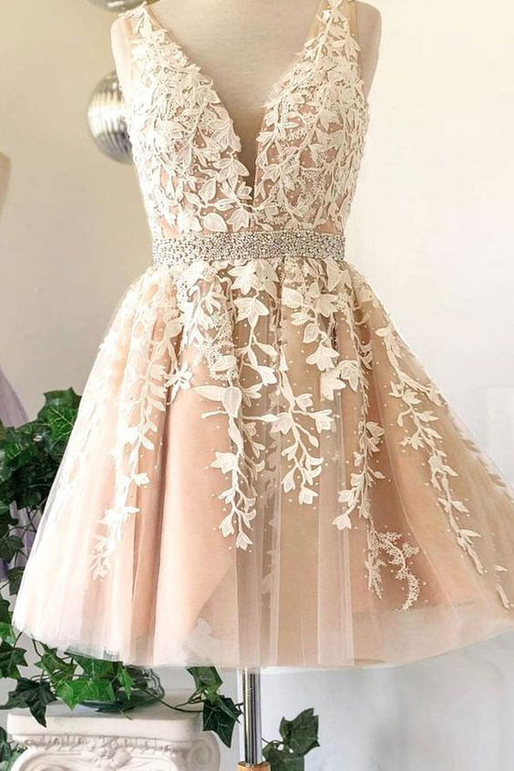 A Line Champagne Tulle V neck Short Homecoming Dress Prom Dress with Appliques &