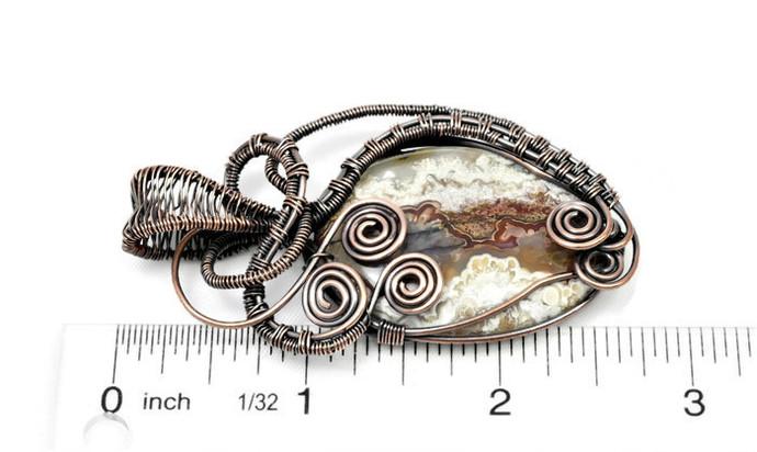 Crazy Lace Agate Copper Pendant; Wire Wrapped Woven Pendant (P114)