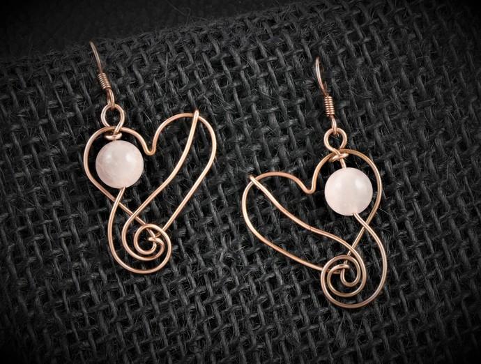Earrings; Copper Heart Earrings; Wire Wrapped with Rose Quartz (E101)
