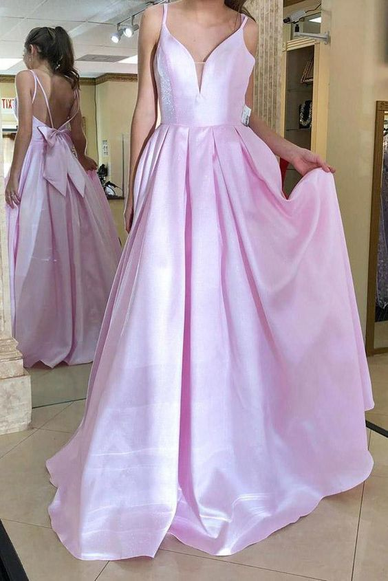 Simple Pretty Custom Made Spaghetti Straps Bowknot Long Pink Evening Dress T9850