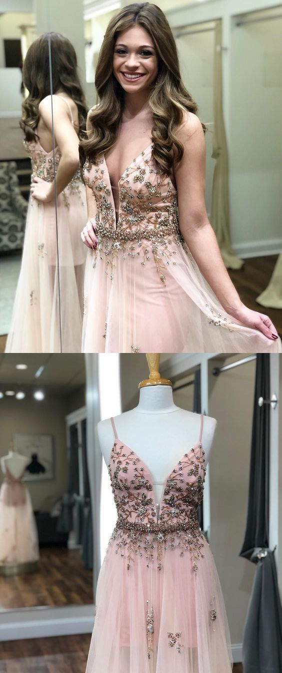 Gorgeous Charming Customized Unique Straps Pink Long Prom Dress with Rhinestones