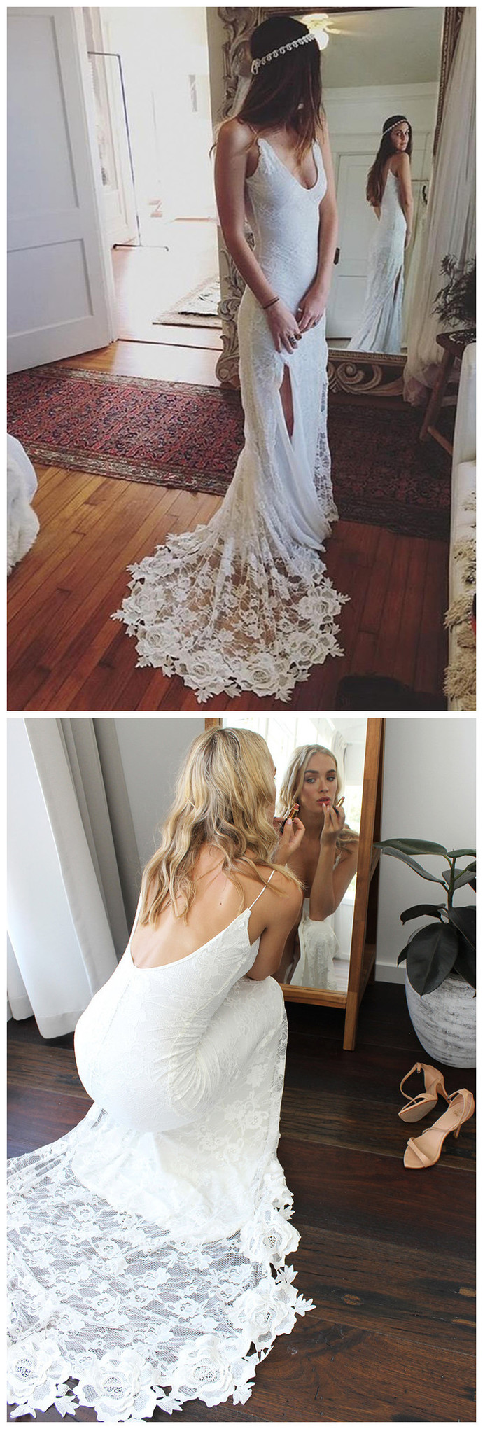 Gorgeous Straps White Lace Long Wedding Dress with Slit