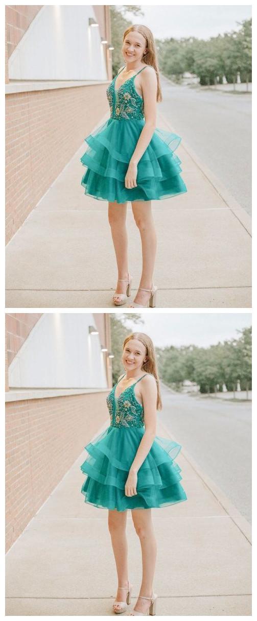 Green v neck tulle beads sequin short prom dress, homecoming dress