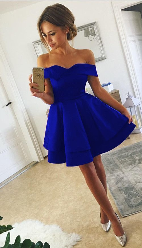 Royal Blue Mini Short Party Dress with Off Shoulder A Line Prom Dress