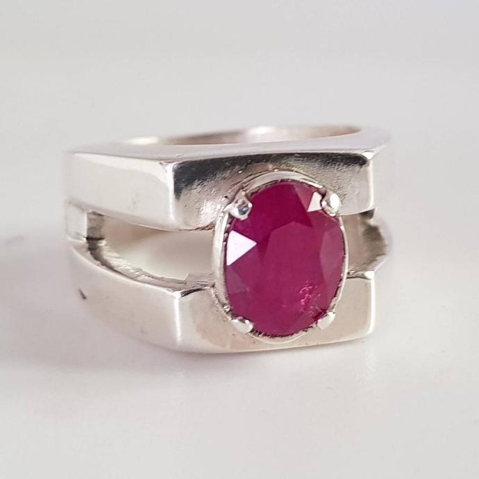 Certified Ruby Ring Unheated Untreated Afghan Ruby Dark Blood Red Ruby Stone