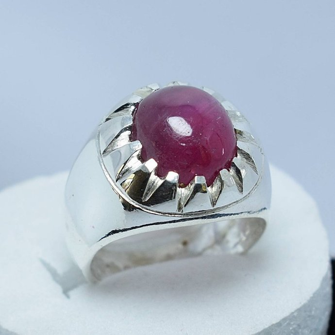 Real Big Ruby Ring Unheated Untreated Afghan Ruby Dark Blood Red Ruby Stone Ring
