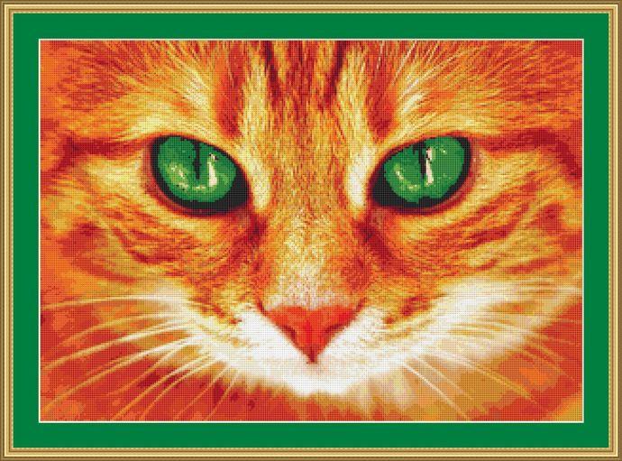 Beautiful Green Eyes Cross Stitch Pattern - Instant Digital Downloadable Pattern