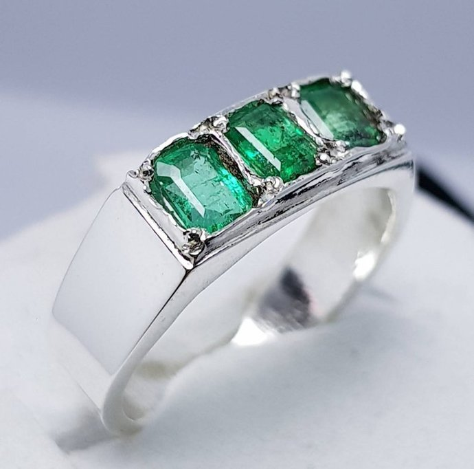 Natural Emerald Ring Unheated Untreated Dark Green Emerald Ring Afghanistan