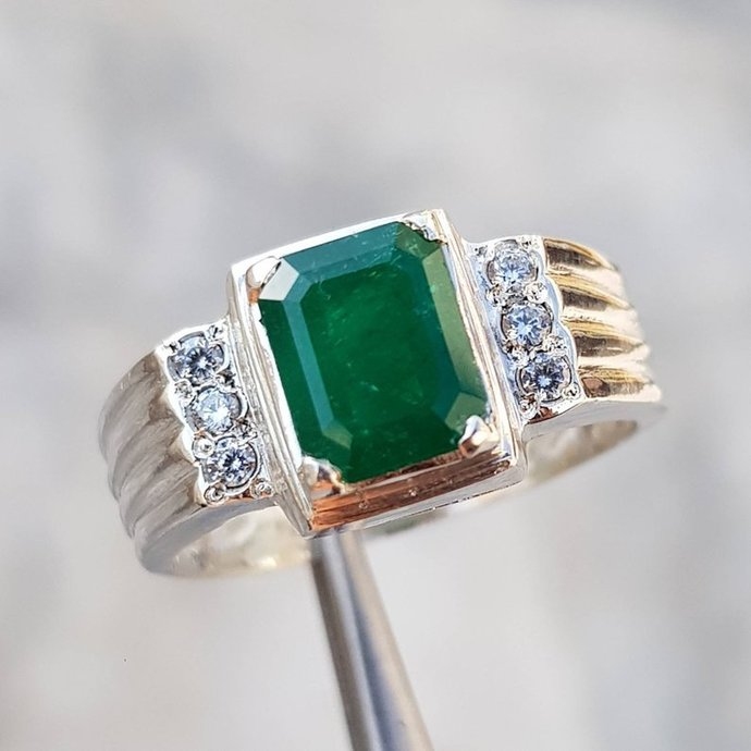 Natural Unheated Untreated mens Emerald Ring Swat Pakistan Big Emerald ring Real