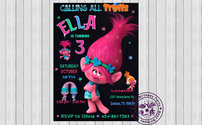 Trolls invitations, Trolls birthday invitations, Trolls birthday card, Trolls