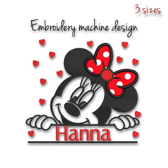 Minnie Mouse embroidery machine designs split pes monogram