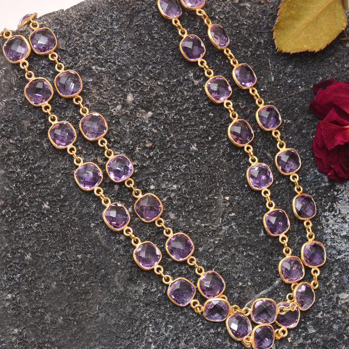 925 Sterling Silver Faceted Natural  Amethyst Flawless checkerboard Royal Chain