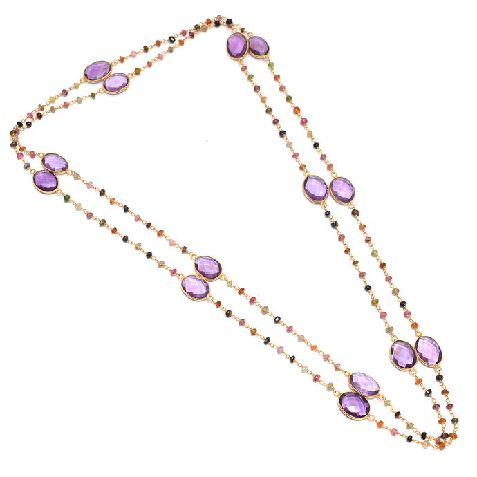 925 Sterling Silver Faceted Natural  Amethyst Multi tourmaline beads Royal Chain
