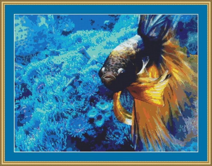 Blue And Gold Cross Stitch Pattern - Instant Digital Downloadable Pattern