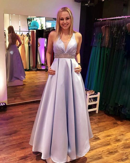 V-Neck Floor length Satin Prom Dress with Beading