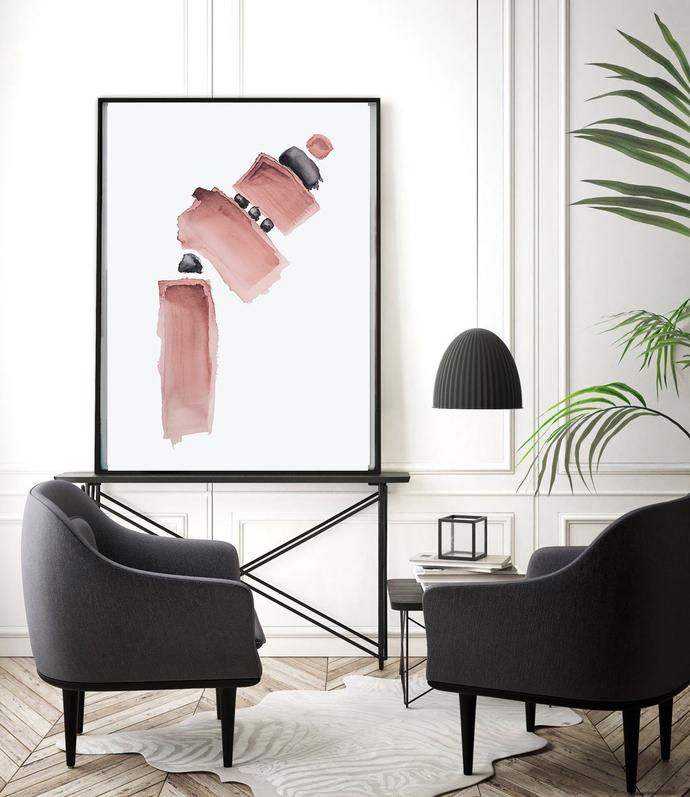 Printable Art, Art Poster, Digital Download, Wall art pink blush , modern