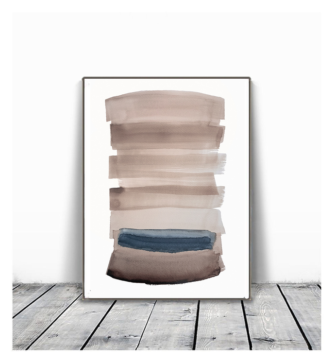 Abstract Paintings, Brown and blue,, Large Wall Art, Modern Painting, Modern