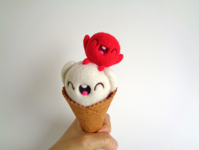 Scoopsie Cream with Cherry on top, ice cream scoop fiber Art Toy, OOAK felted