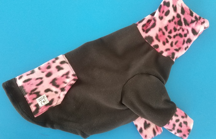 LARGE microfleece and pink cheetah swoodie