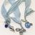 Boho Gypsy Silk Sari Ribbon Bookmark Sky Blue Baby Blue with Heart   Book