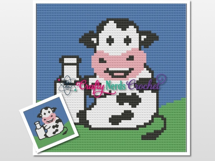 Cow With Milk Pattern Graph With Single Crochet Written