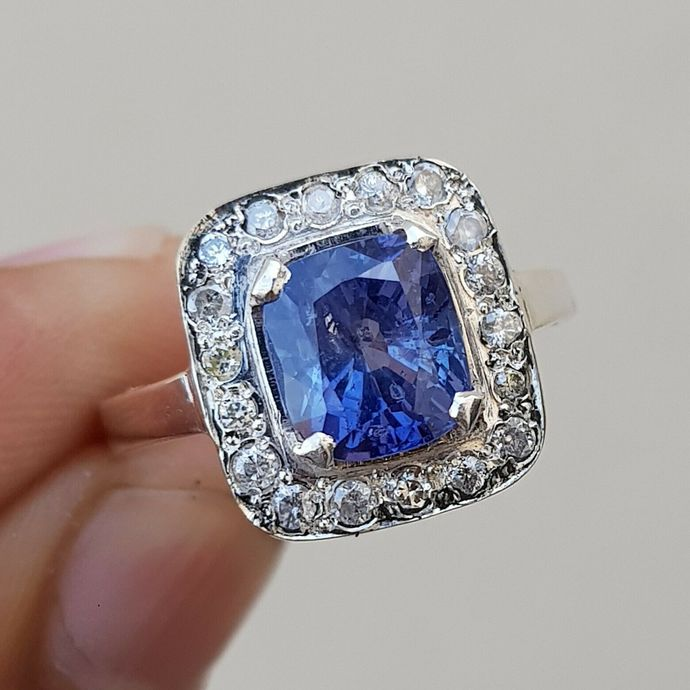 Rich Blue Sapphire Diamonds Platinum Band Wedding sapphire ring Platinum rings