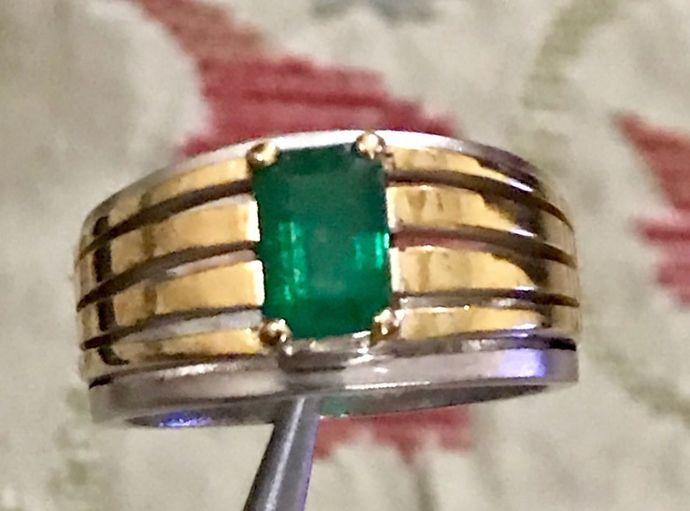 Natural Zambian Emerald Band Victorian Emerald Ring Zambian Emerald