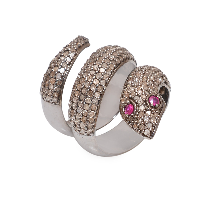 Solid 925 Sterling Silver Incredible modern Snake Ruby Diamond Ring Jewelry