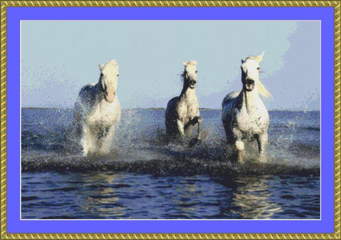 Camargue Horses Cross Stitch Pattern - Instant Digital Downloadable Pattern