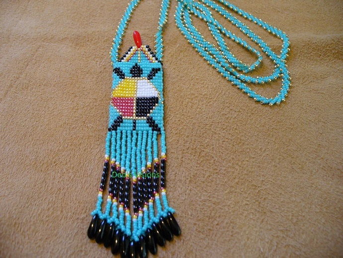 Native American Style Square Stitched Tiny Four Direction Turtle Amulet Bag