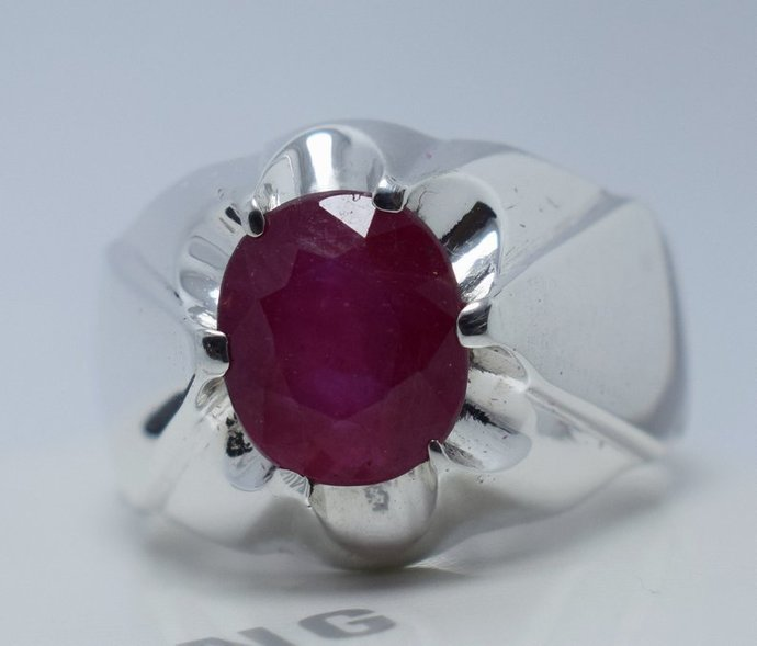 Ruby Ring Natural Ruby Sterling Silver Men Ring Real Ruby Stone Silver Bague Men