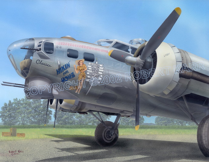 """B-17G Flying Fortress / """"Hikin' For Home"""" - Ltd Ed Lithograph"""