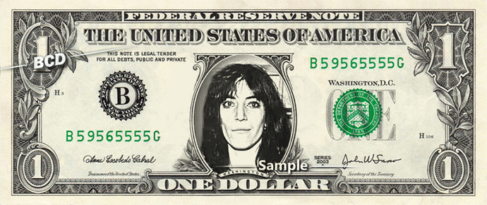 Patty Smith on a REAL Dollar Bill Cash Money Collectible Memorabilia Celebrity