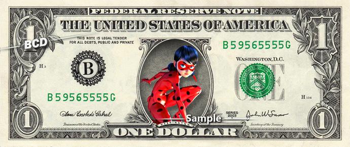 LADYBUG Marvel on a REAL Dollar Bill Cash Money Collectible Memorabilia