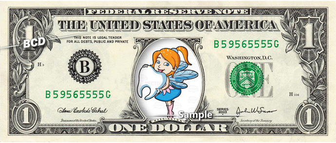 TOOTH FAIRY on a REAL Dollar Bill Money Collectible Memorabilia Cash Novelty