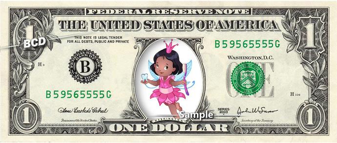 Black TOOTH FAIRY Girl on a REAL Dollar Bill Cash Money Memorabilia Novelty