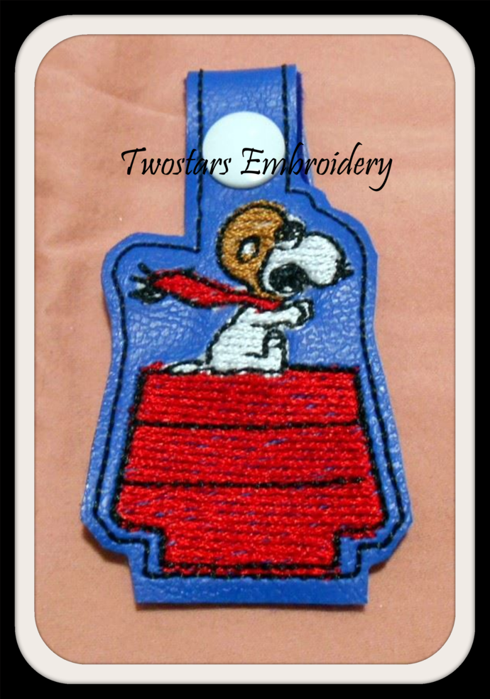 Red Baron Key fob as Snoopy beagle. One size will fit 4x4 hoops. Digital