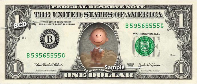 PIG PEN Peanuts Charlie Brown on a REAL Dollar Bill Cash Money Memorabilia
