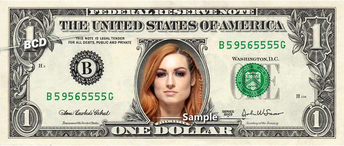 BECKY LYNCH on a REAL Dollar Bill WWE Cash Money Memorabilia Novelty Collectible
