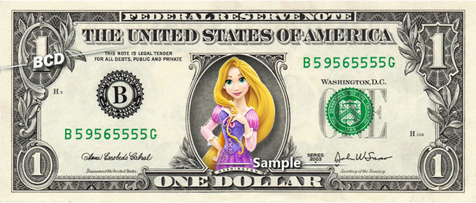 RAPUNZEL Princess on a REAL Dollar Bill Disney Cash Money Memorabilia Novelty