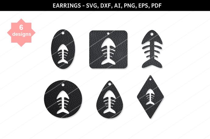 Fish skeleton earrings,Fish earrings,Fish clipart,cutting files,cameo