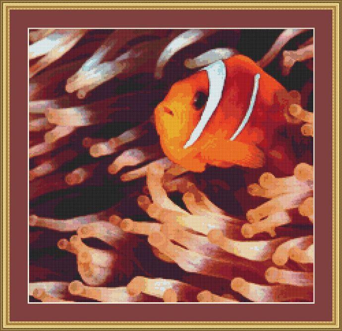 Clown Fish Cross Stitch Pattern - Instant Digital Downloadable Pattern