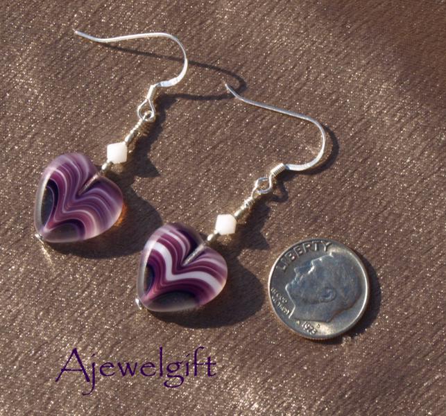 Purple Dangle Heart Earrings 10003
