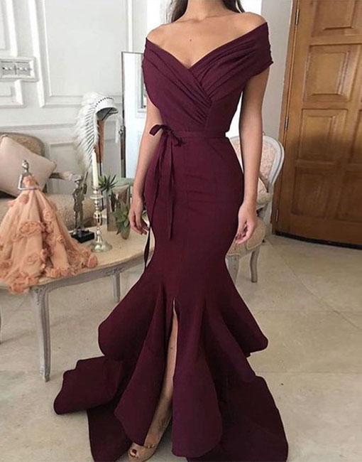 Trendy Mermaid Off-Shoulder Split Burgundy Satin Long Prom Evening Dress N5305